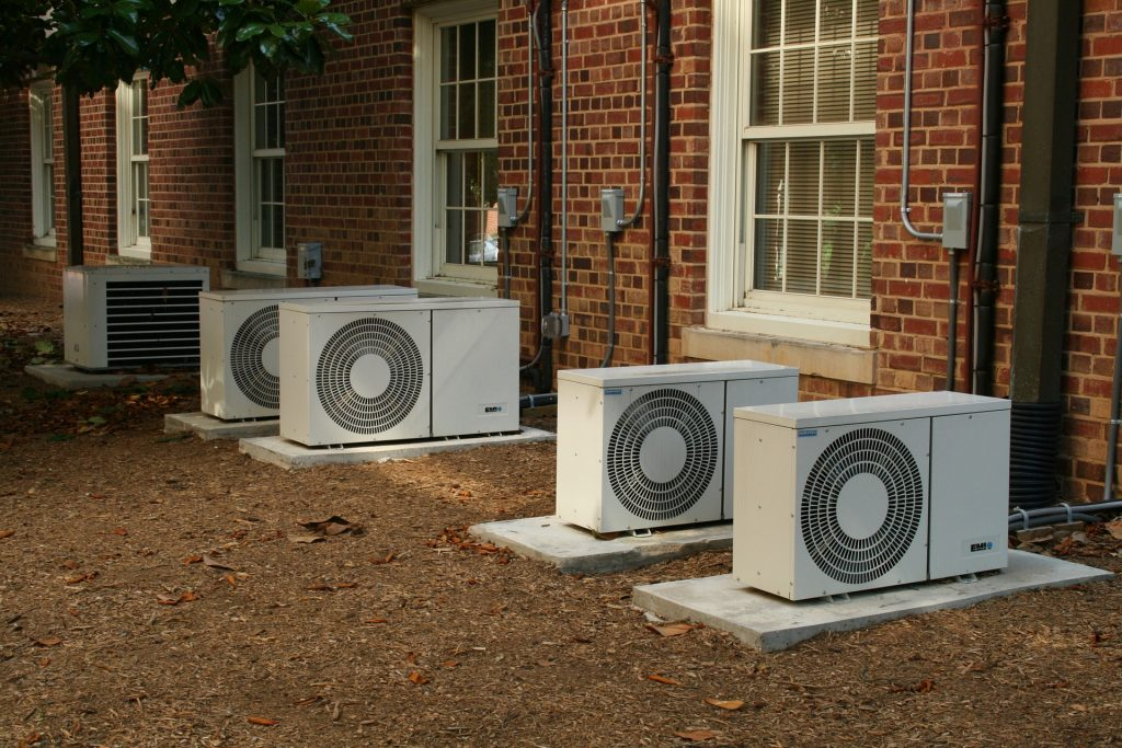 A row of ductless air conditioners.