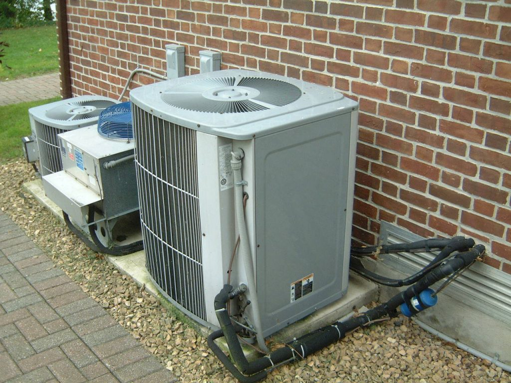 A central air conditioning unit.
